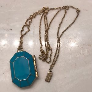 Kate spade turquoise locket on gold chain